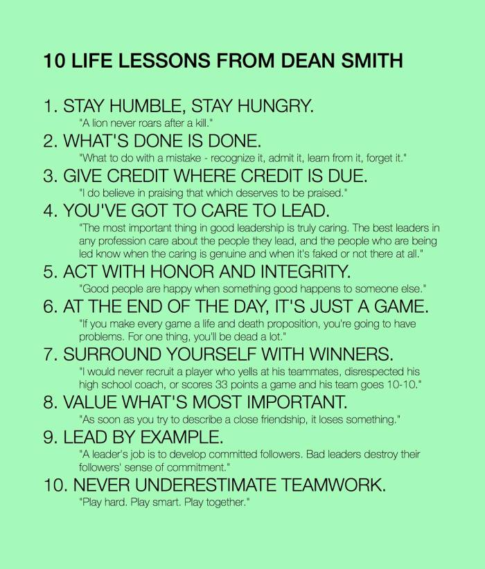 10 life lessons from Dean Smith